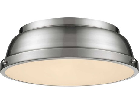 Golden Lighting Duncan Pewter 14'' Wide Flush Mount Ceiling Light with Pewter Shade (Open Box)