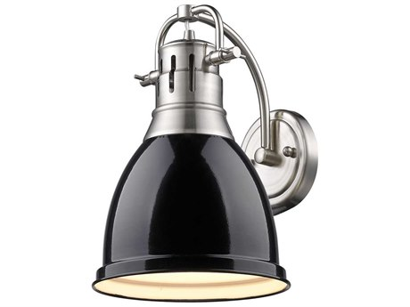 Golden Lighting Duncan Pewter Wall Sconce with Black Shade (Open Box)