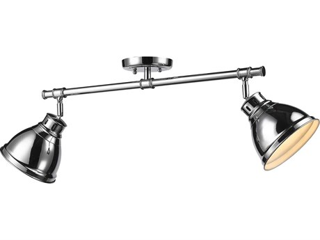 Golden Lighting Duncan Chrome Two-Light 26.25'' Wide Rail Light with Chrome Shade (Open Box)