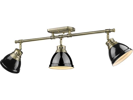 Golden Lighting Duncan Aged Brass Three-Light 35.38'' Wide Track Light with Black Shades (Open Box)