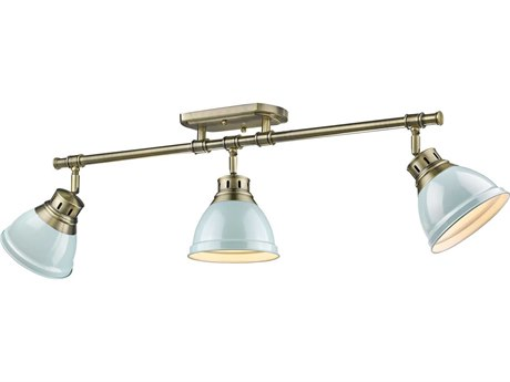 Golden Lighting Duncan Aged Brass Three-Light 35.38'' Wide Track Light with Seafoam Shades (Open Box)