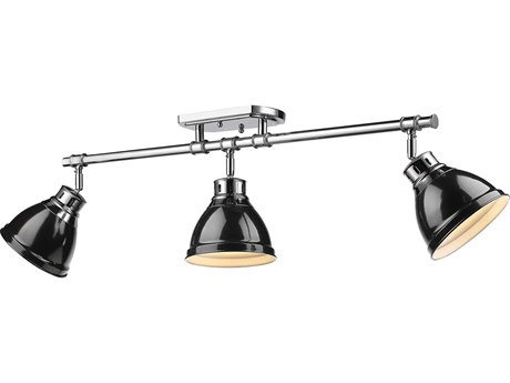 Golden Lighting Duncan Chrome Three-Light 35.38'' Wide Rail Light with Black Shade (Open Box)