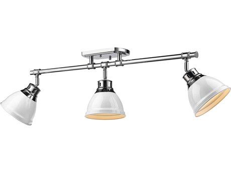 Golden Lighting Duncan Chrome Three-Light 35.38'' Wide Rail Light with White Shade (Open Box)