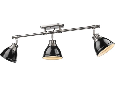 Golden Lighting Duncan Pewter Three-Light 35.38'' Wide Rail Light with Black Shade (Open Box)