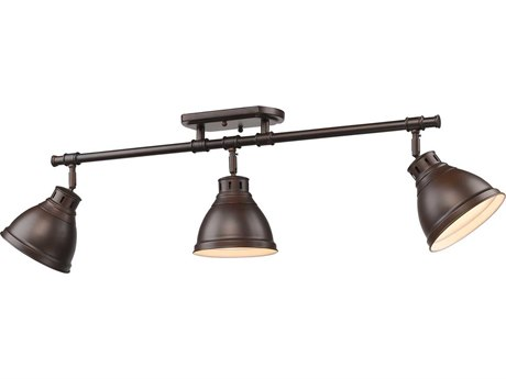 Golden Lighting Duncan Rubbed Bronze Three-Light 35.38'' Wide Rail Light with Rubbed Bronze Shade (Open Box)