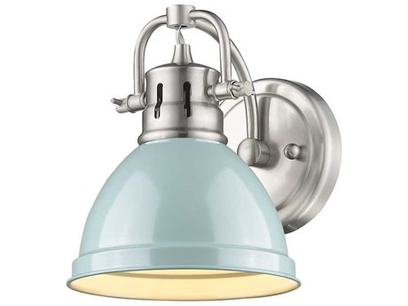 Golden Lighting Duncan Pewter Wall Sconce with Seafoam (Open Box)