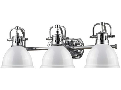 Golden Lighting Duncan Chrome Three-Light Vanity Light with White Shade (Open Box)