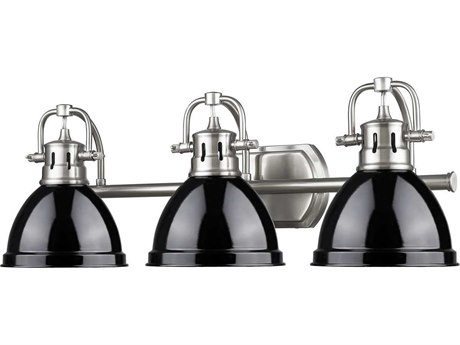 Golden Lighting Duncan Pewter Three-Light Vanity Light with Black Shade (Open Box)