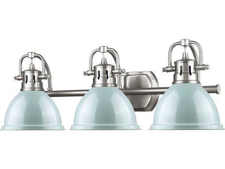 Golden Lighting Duncan Pewter Three-Light Vanity Light with Seafoam (Open Box)