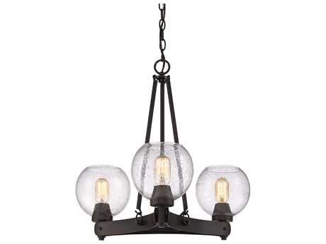 Golden Lighting Galveston Rubbed Bronze Three-Light 24.25'' Wide Mini-Chandelier with Seeded Glass (Open Box)