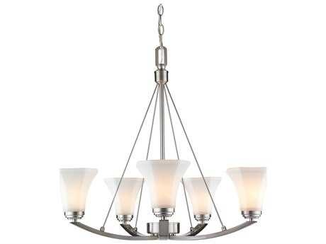 Golden Lighting Accurian Pewter Five-Light 28'' Wide Chandelier with Opal Glass (Open Box)