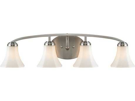 Golden Lighting Accurian Pewter Four-Light Vanity Light with Opal Glass (Open Box)
