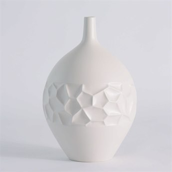 Global Views Honeycomb Matte White Large Vase