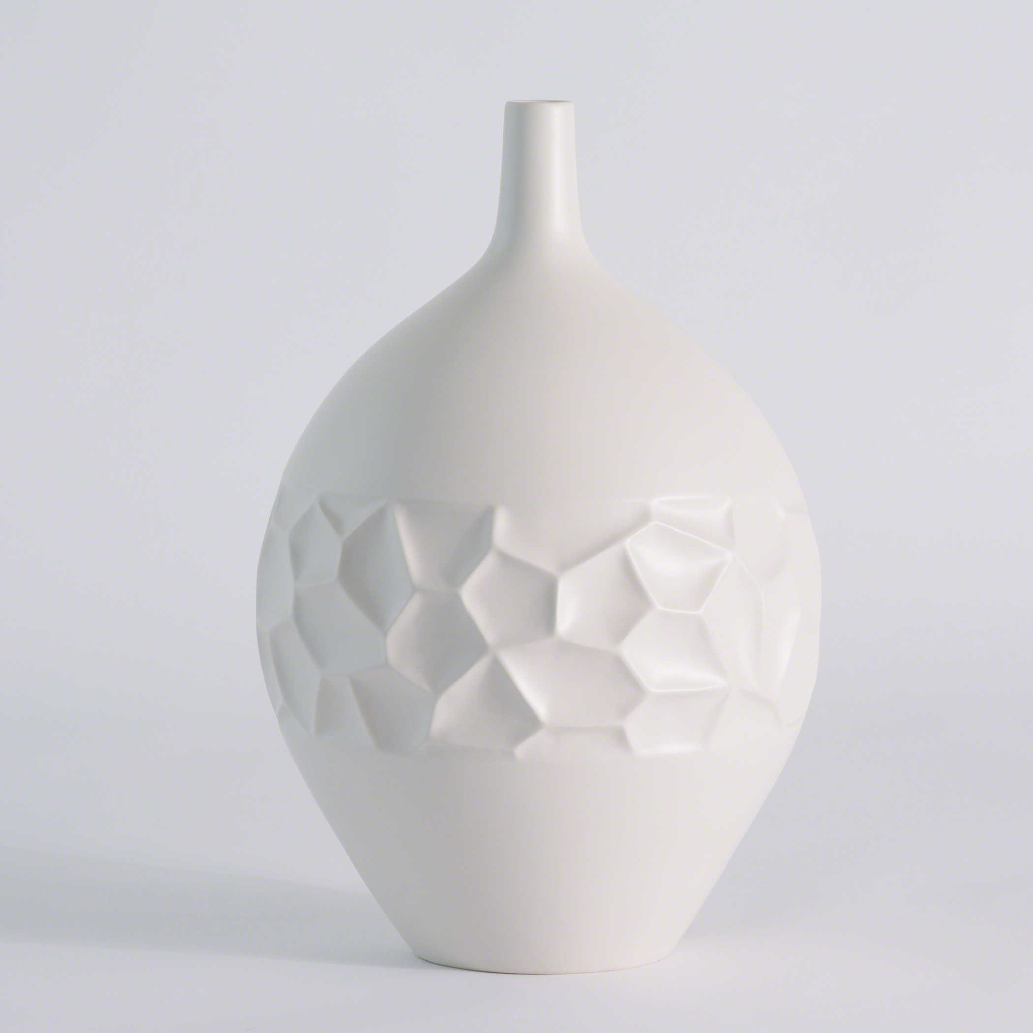Global Views Vase: Global Views Honeycomb Matte White Large Vase