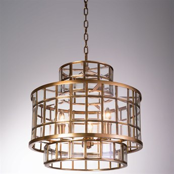 Global Views Alexandria Hall Antique Brass Three-Light 20.5'' Wide Pendant
