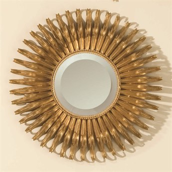 Global Views Gold Leaf Sunburst 19'' Round Wall Mirror