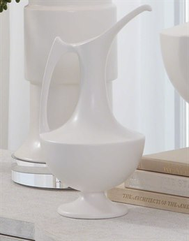 Global Views Elegant Grecian Matte White Small Ewer