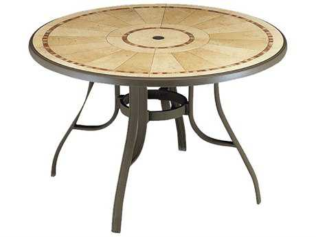 Grosfillex Louisiana Aluminum Bronze Mist 48''Wide Round Pietra Top Dining Table with Umbrella PatioLiving