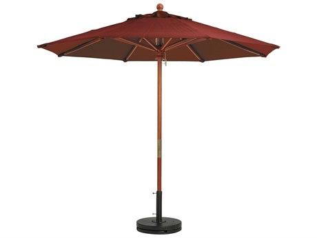 Grosfillex Market Wood 9' Foot Round Umbrella in Burgundy