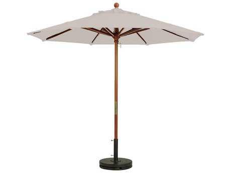Grosfillex Market Wood 9' Foot Round Umbrella in Sand