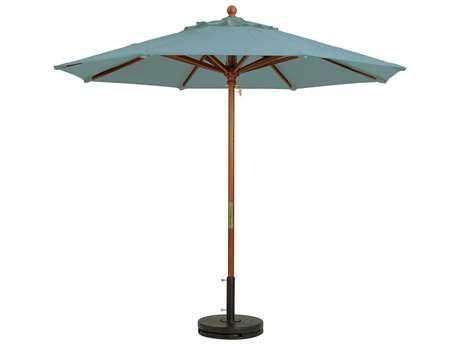 Grosfillex Market Wood 9' Foot Round Umbrella in Spa Blue