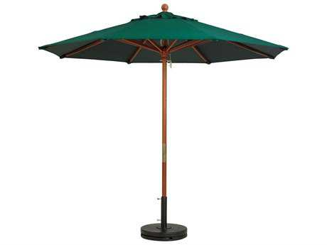 Grosfillex Market Wood 7' Foot Round Umbrella in Fern Green