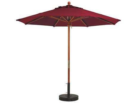 Grosfillex Market Wood 7' Foot Round Umbrella in Burgundy