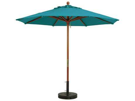 Grosfillex Market Wood 7' Foot Round Umbrella in Turquoise