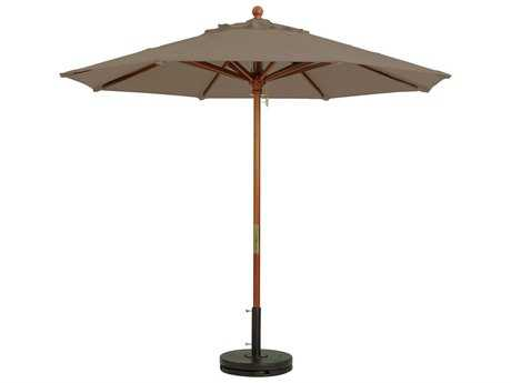 Grosfillex Market Wood 7' Foot Round Umbrella in Taupe