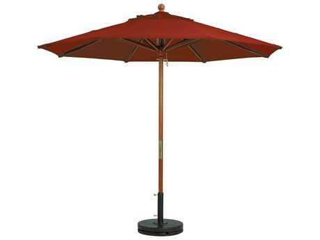 Grosfillex Market Wood 7' Foot Round Umbrella in Terra Cotta