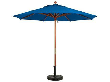 Grosfillex Market Wood 7' Foot Round Umbrella in Pacific Blue
