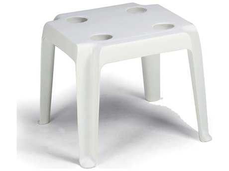 Grosfillex Oasiss Resin 18 Rectangular Low Table with Cupholders
