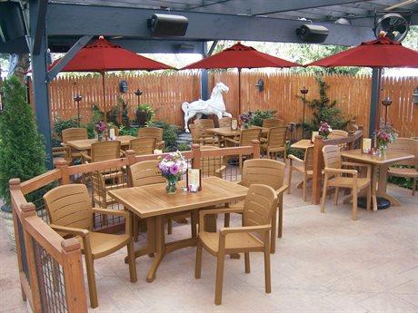 Grosfillex Acadia Teakwood Resin Dining Set