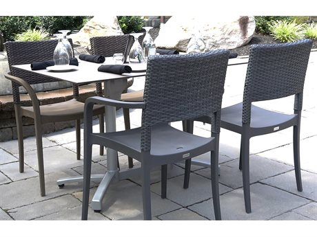 Grosfillex Java Charcoal Resin Wicker Dining Set