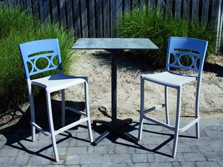 Grosfillex Moon Denim Blue/Linen Resin Bar Set