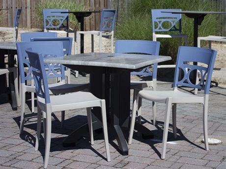 Grosfillex Moon Denim Blue/Linen Resin Dining Set