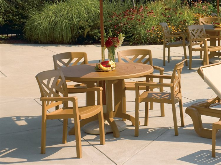 Grosfillex Sanibel Wood Resin Dining Set PatioLiving