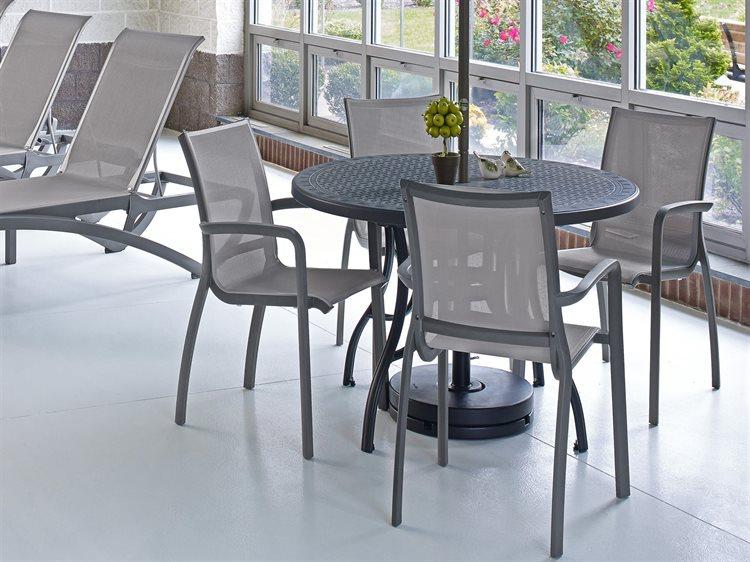 Grosfillex Sunset Platinum Gray Aluminum Sling Dining Set PatioLiving