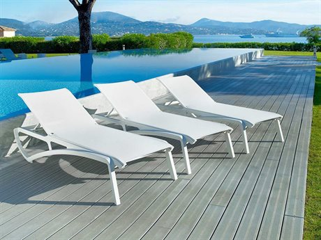 Grosfillex Sunset Glacier White Aluminum Sling Lounge Set