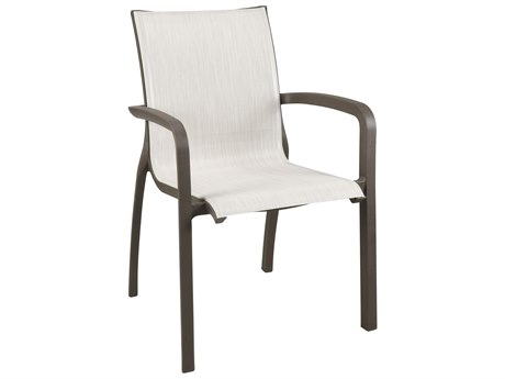 Grosfillex Sunset Sling Resin Glacier White Comfort Stacking Dining Arm Chair in Madras Blue (Sold in 16)