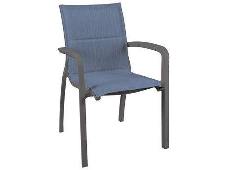 Grosfillex Sunset Sling Resin Volcanic Black Comfort Stacking Dining Arm Chair in Madras Blue (Sold in 16)