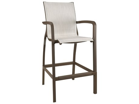 Grosfillex Sunset Sling Resin Fusion Bronze Bar Stool in Beige(Sold in 4)