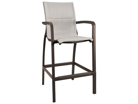 Grosfillex Sunset Sling Resin Fusion Bronze Comfort Bar Stool in Beige (Sold in 4)