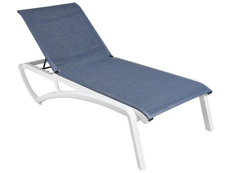 Grosfillex Sunset Sling Resin Glacier White Chaise Lounge in Madras Blue (Sold in 12)