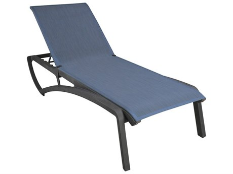 Grosfillex Sunset Sling Resin Volcanic Black Chaise Lounge in Madras Blue (Sold in 12)