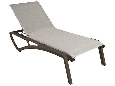 Grosfillex Sunset Sling Resin Fusion Bronze Chaise Lounge in Beige (Sold in 12)