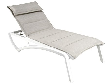Grosfillex Sunset Sling Resin Glacier White Comfort Chaise Lounge in Beige (Sold in 12)