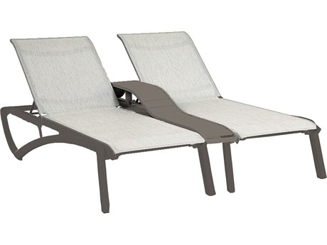 Grosfillex Sunset Sling Resin Volcanic Black Duo Chaise Lounge with Console in Beige