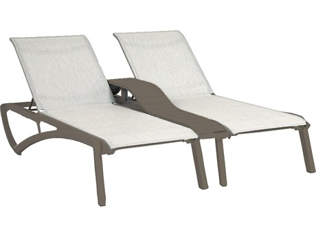 Grosfillex Sunset Sling Resin Fusion Bronze Duo Chaise Lounge with Console in Beige