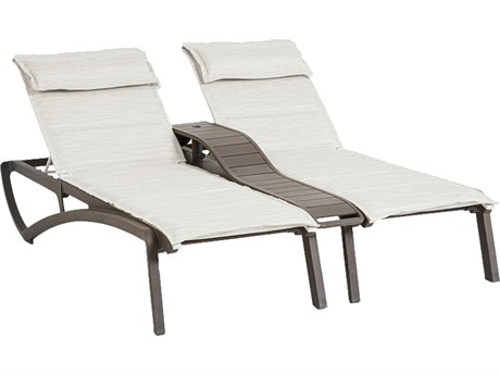 Grosfillex Sunset Sling Resin Fusion Bronze Comfort Duo Chaise Lounge with Console in Beige